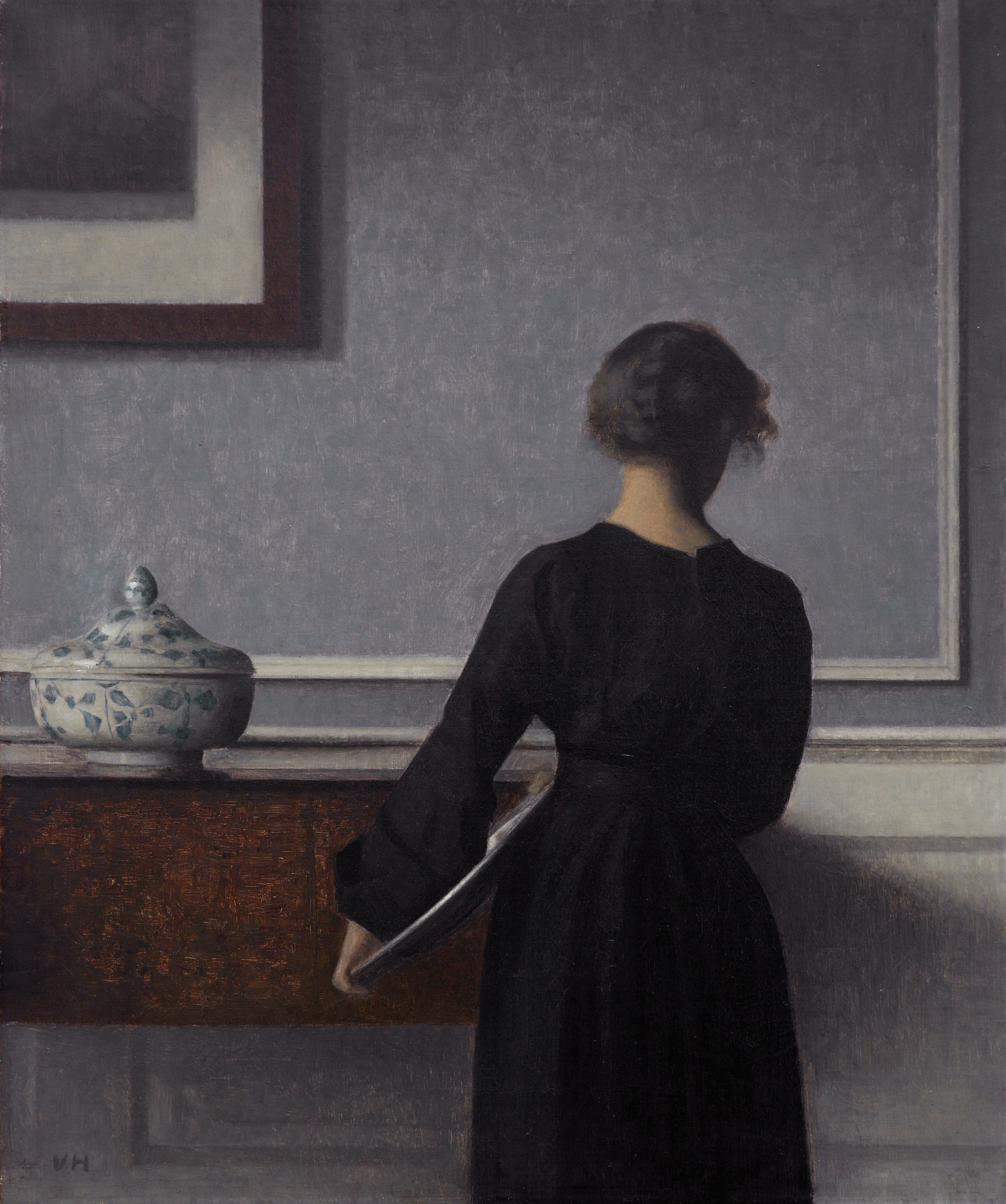 Interior with Young Woman from Behind, by Vilhelm Hammershøi, circa 1904