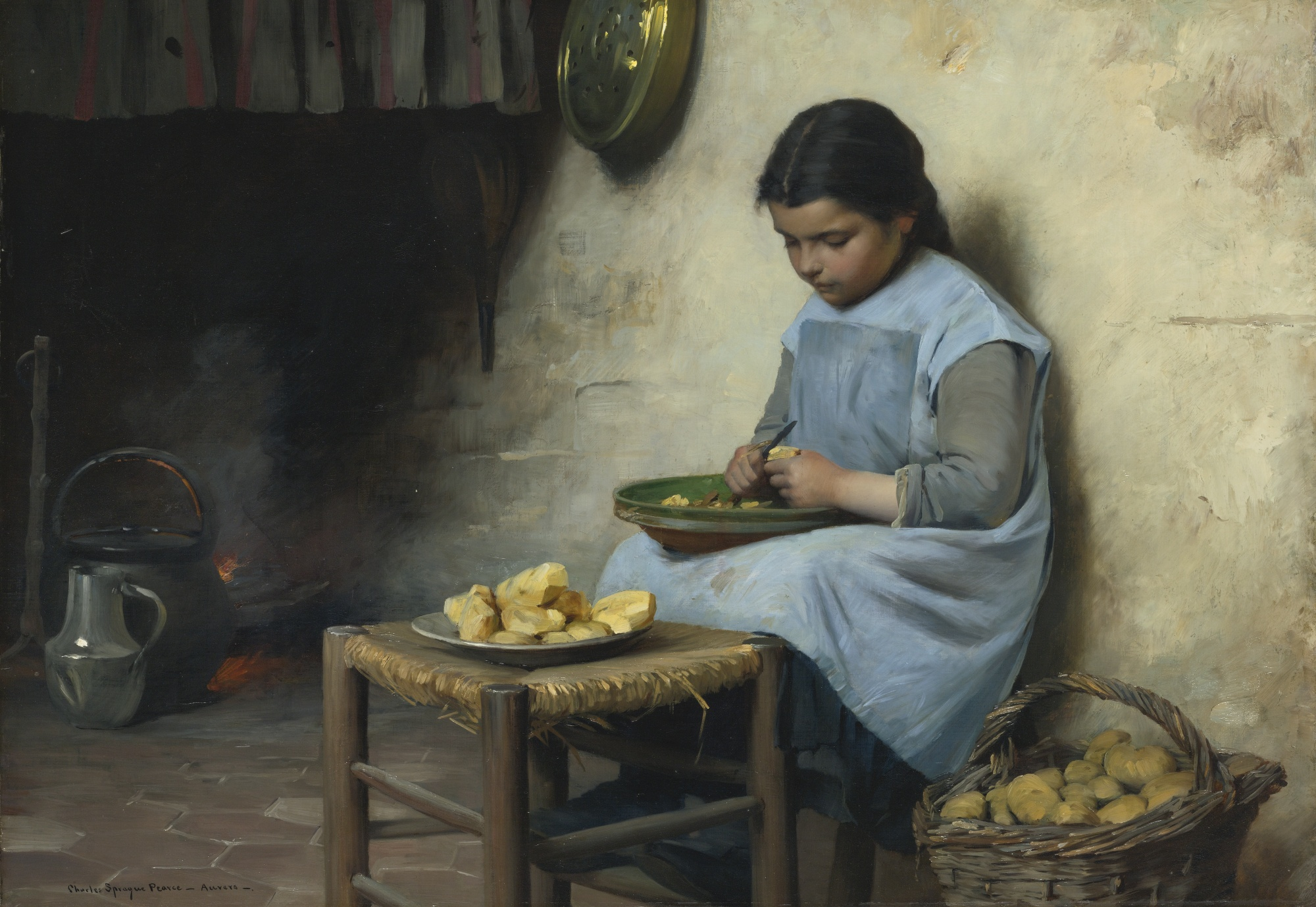 Peeling Potatoes, by Charles Sprague Pearce, circa 1885