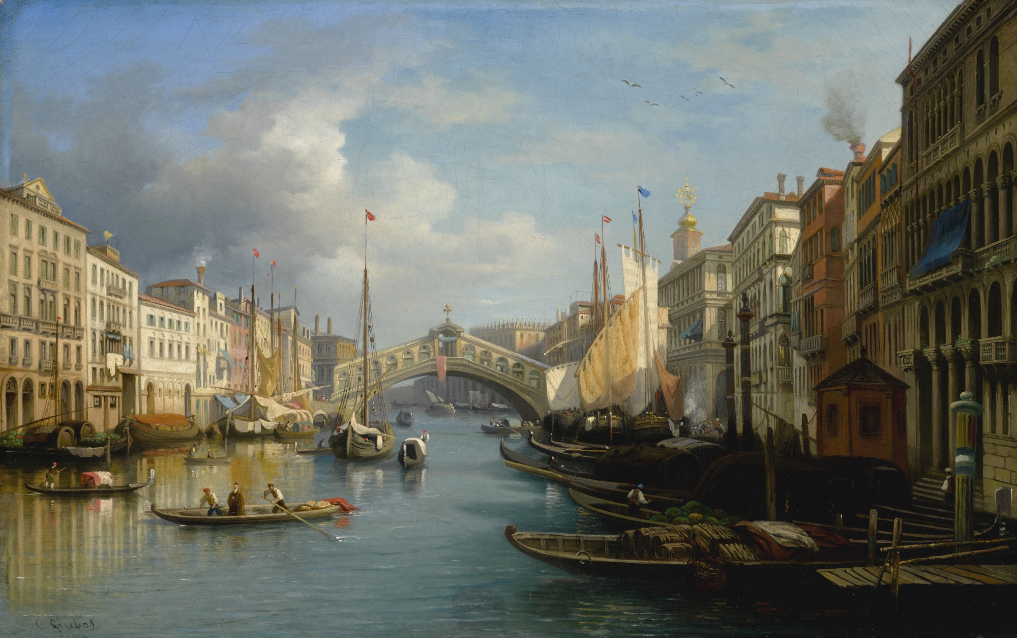 Venice, a View of the Grand Canal and the Rialto Bridge from the South, by Carlo Grubacs, circa 1830