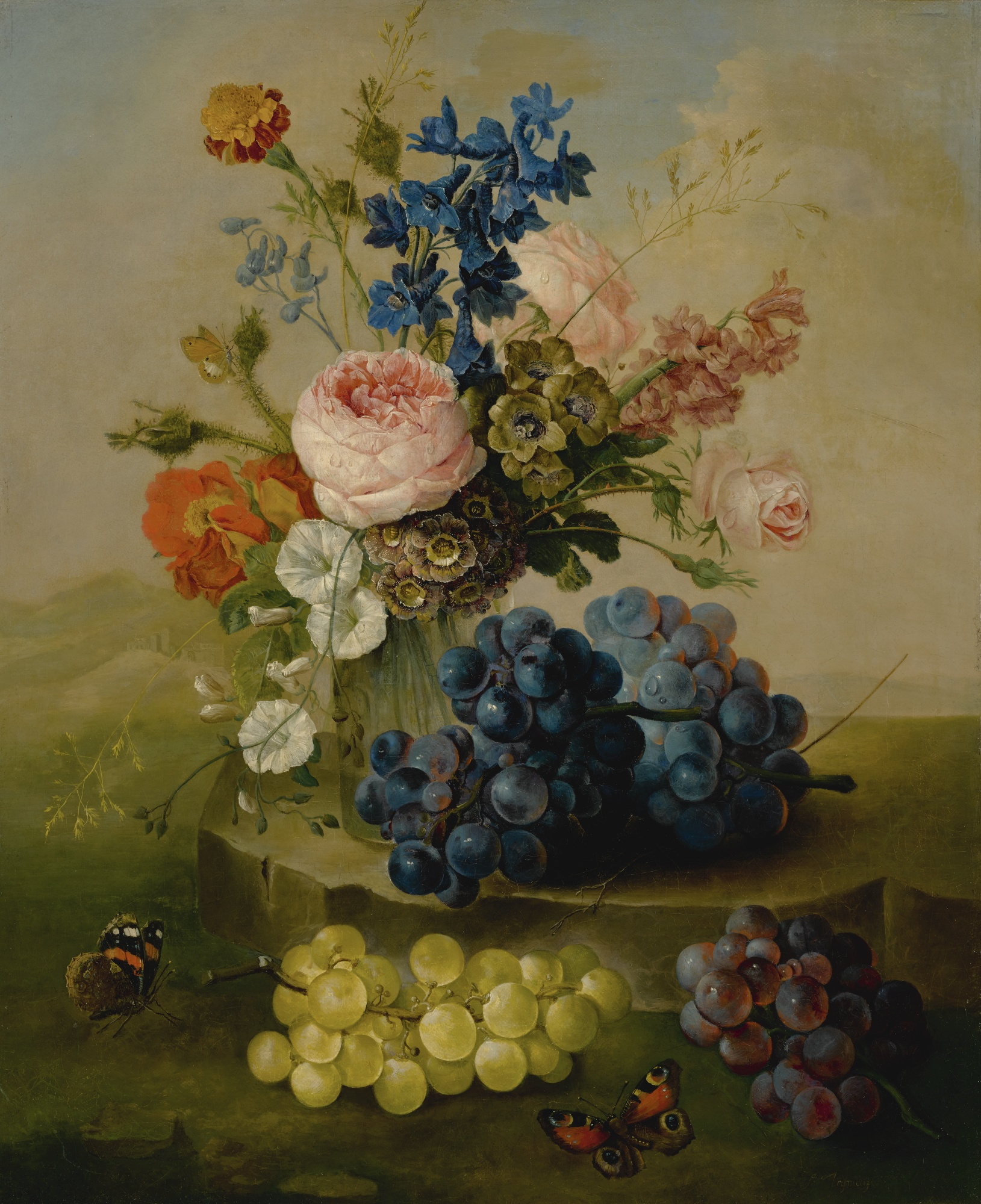 Still Life of Flowers in a Glass Vase, with Grapes, by Sebastian Wegmayr