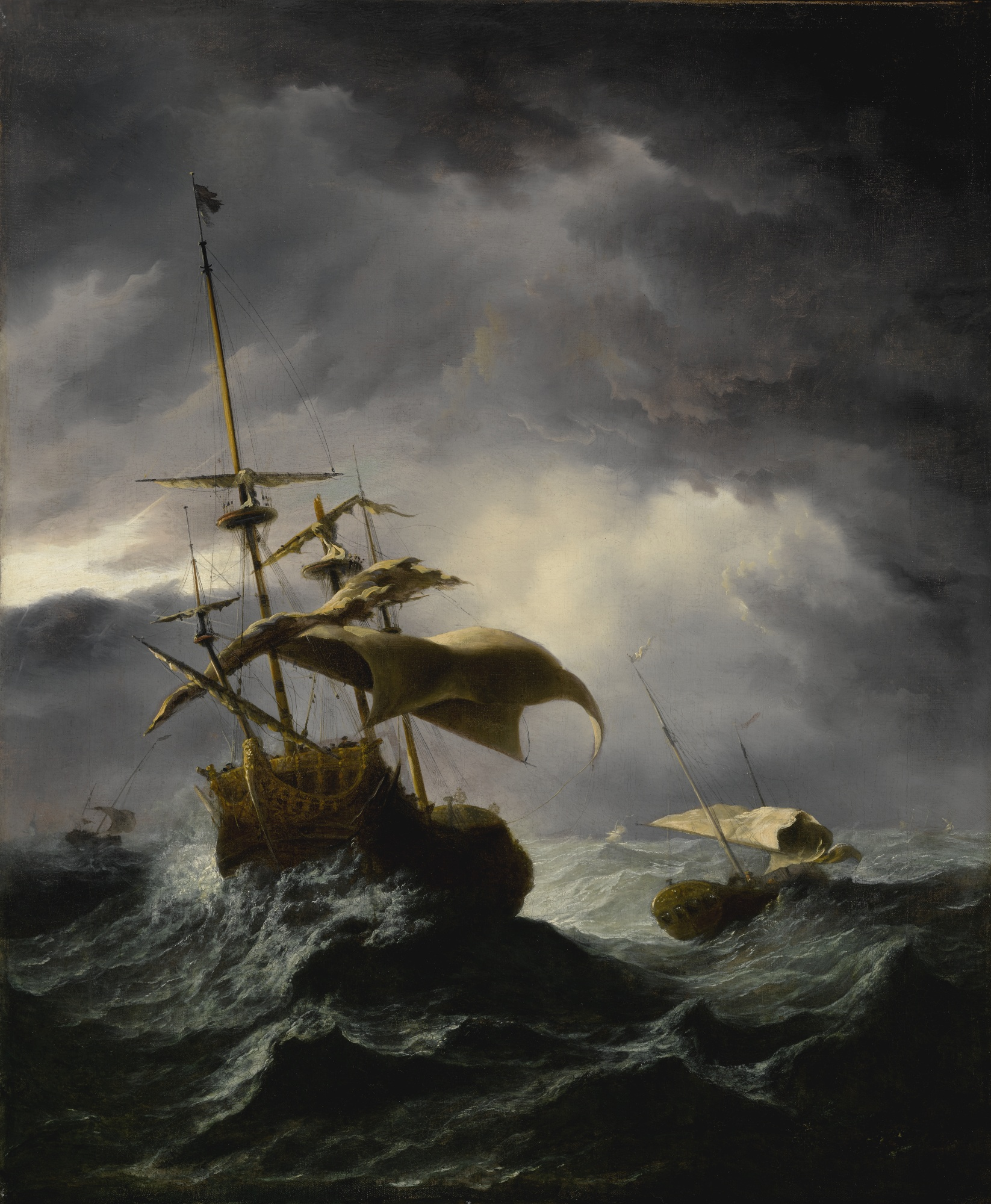 An English Ship in a Gale Attempting to Lie-In, by a follower of Willem van de Velde the Younger