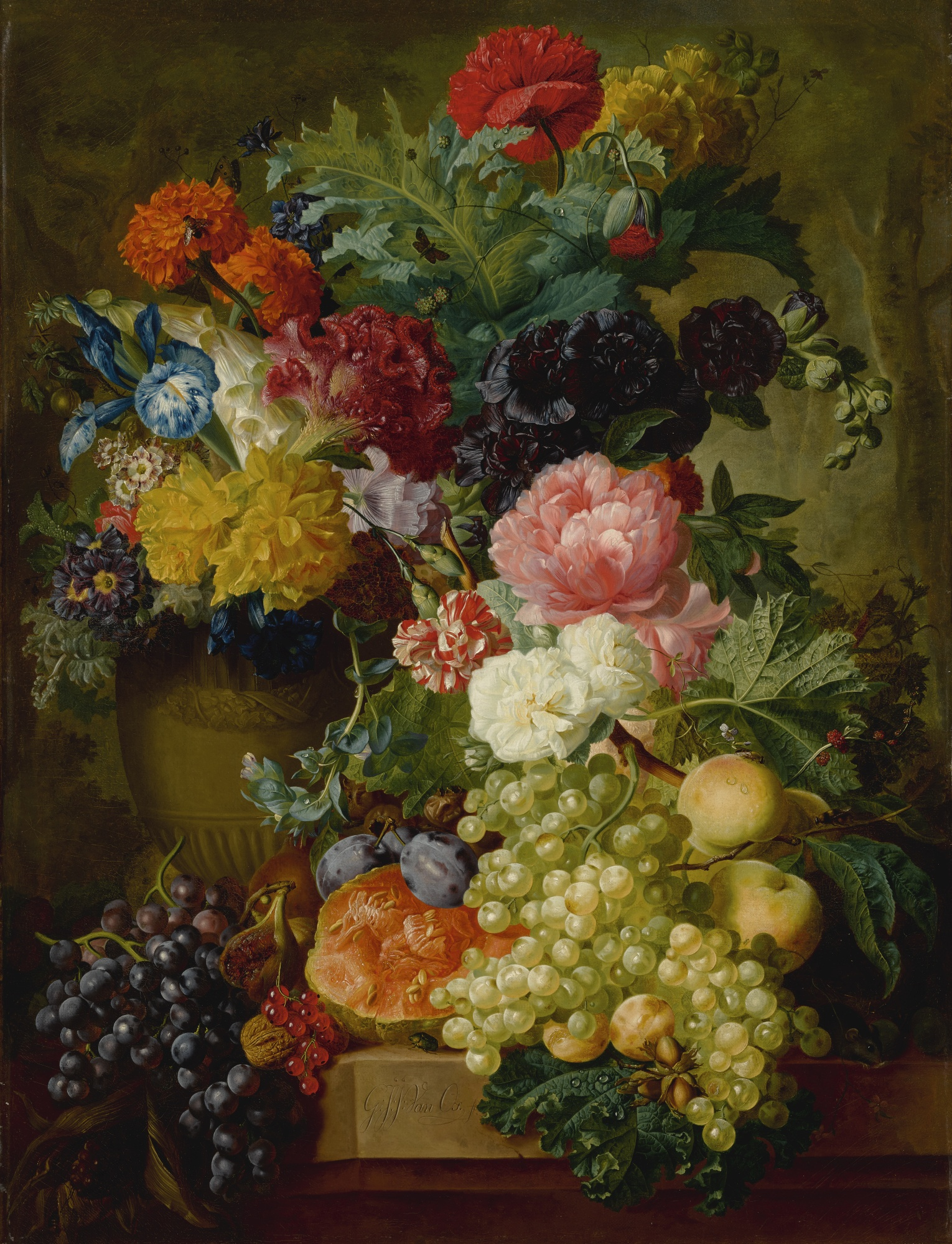 Still Life of Flowers and Fruit on a Stone Ledge, A Wooded Landscape Beyond, by Georgius Jacobus Johannes van Os