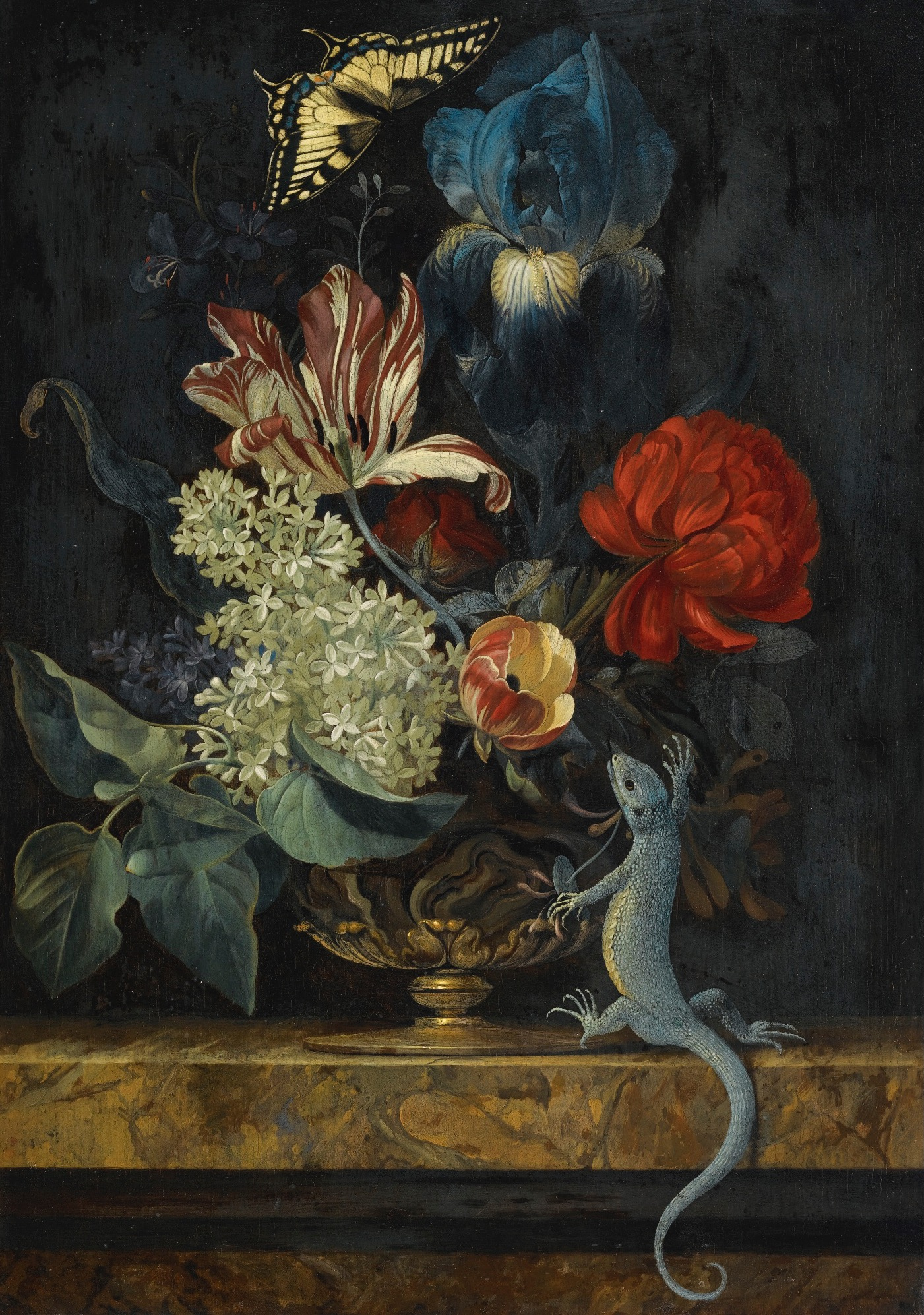 Still Life with Tulips and Other Flowers, a Lizard and a Butterfly, by Willemstad van Aelst