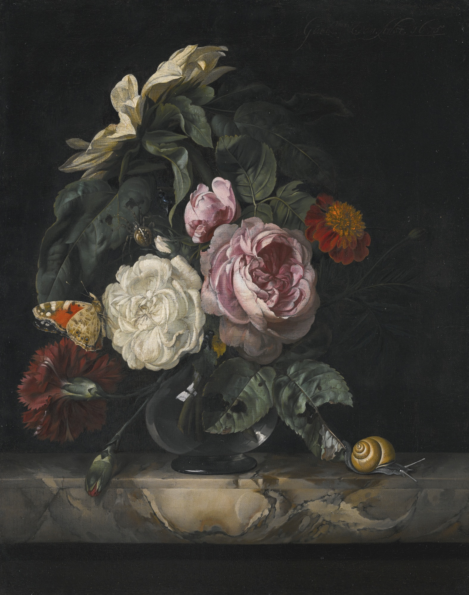Still Life of Roses, a Carnation and a Sunflower in a Glass Vase, by Willem van Aelst, 1675