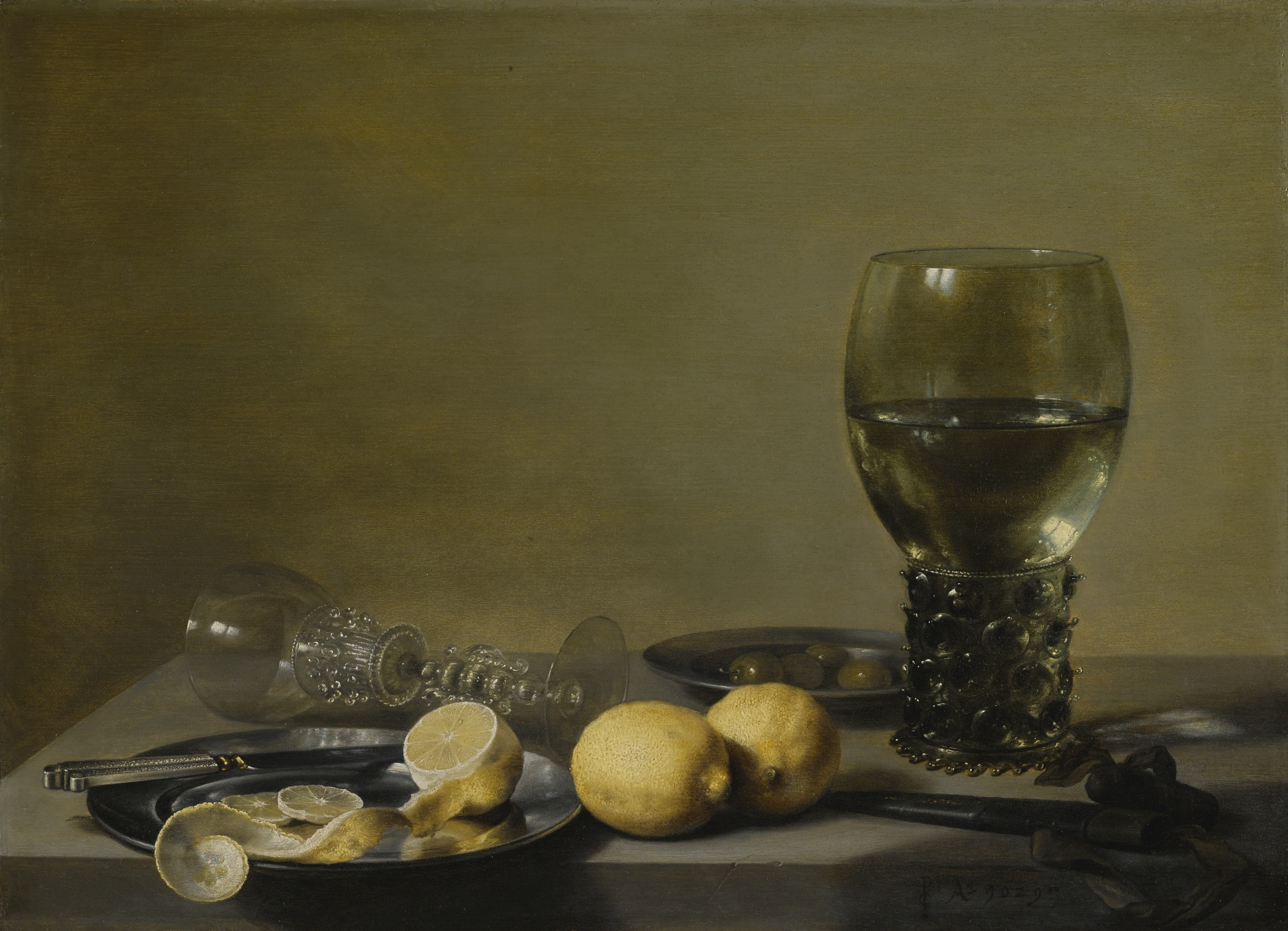 Still Life of Lemons and Olives, Pewter Plates, a Roemer and a Façon-de-Venise Wine Glass, by Pieter Claesz, 1629