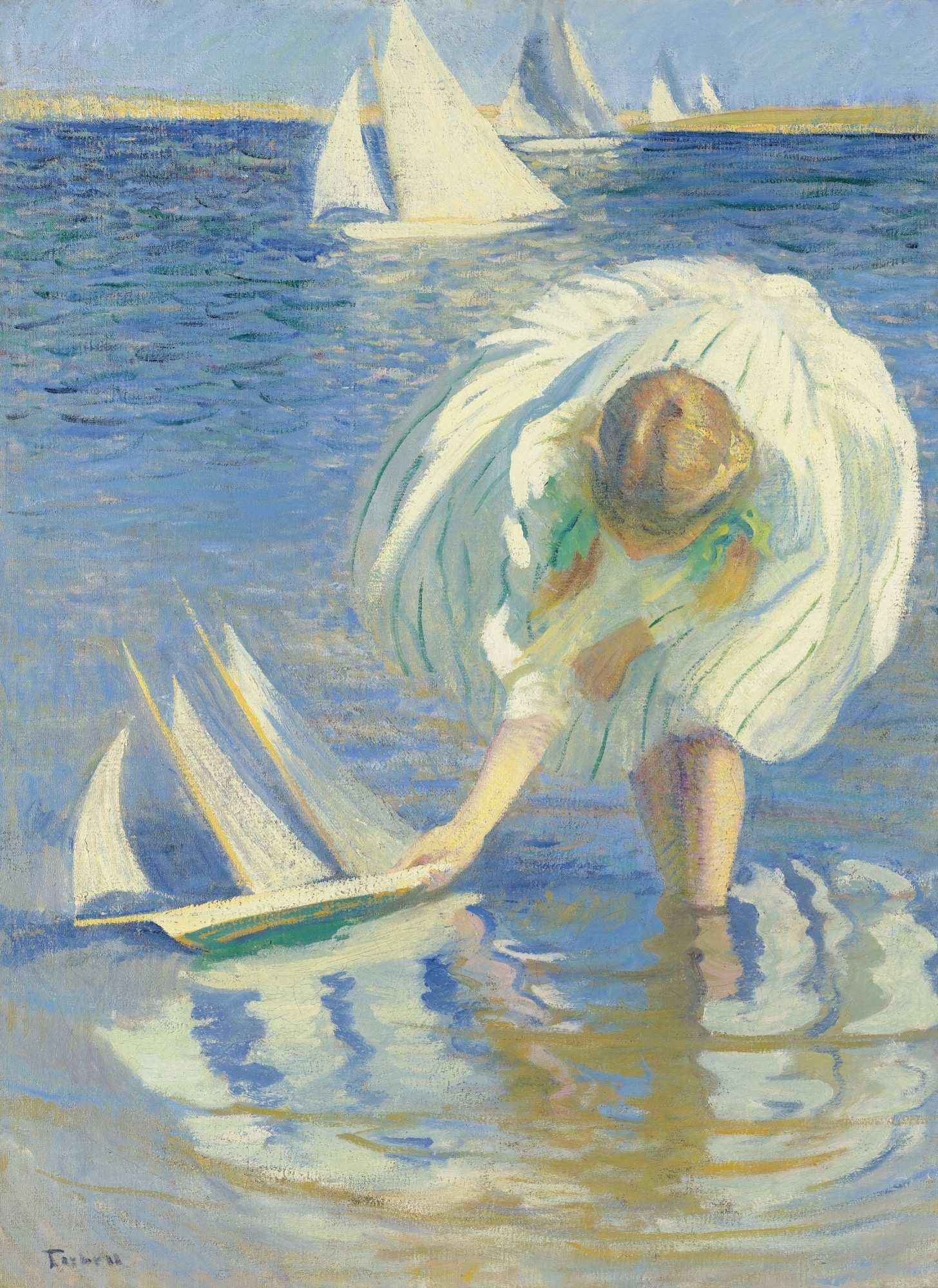 Girl with Sailboat, by Edmund Charles Tarbell, 1899