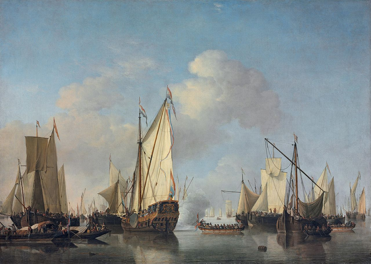 A States Yacht and other Vessels in a Very Light Air, by Willem van de Velde the Younger