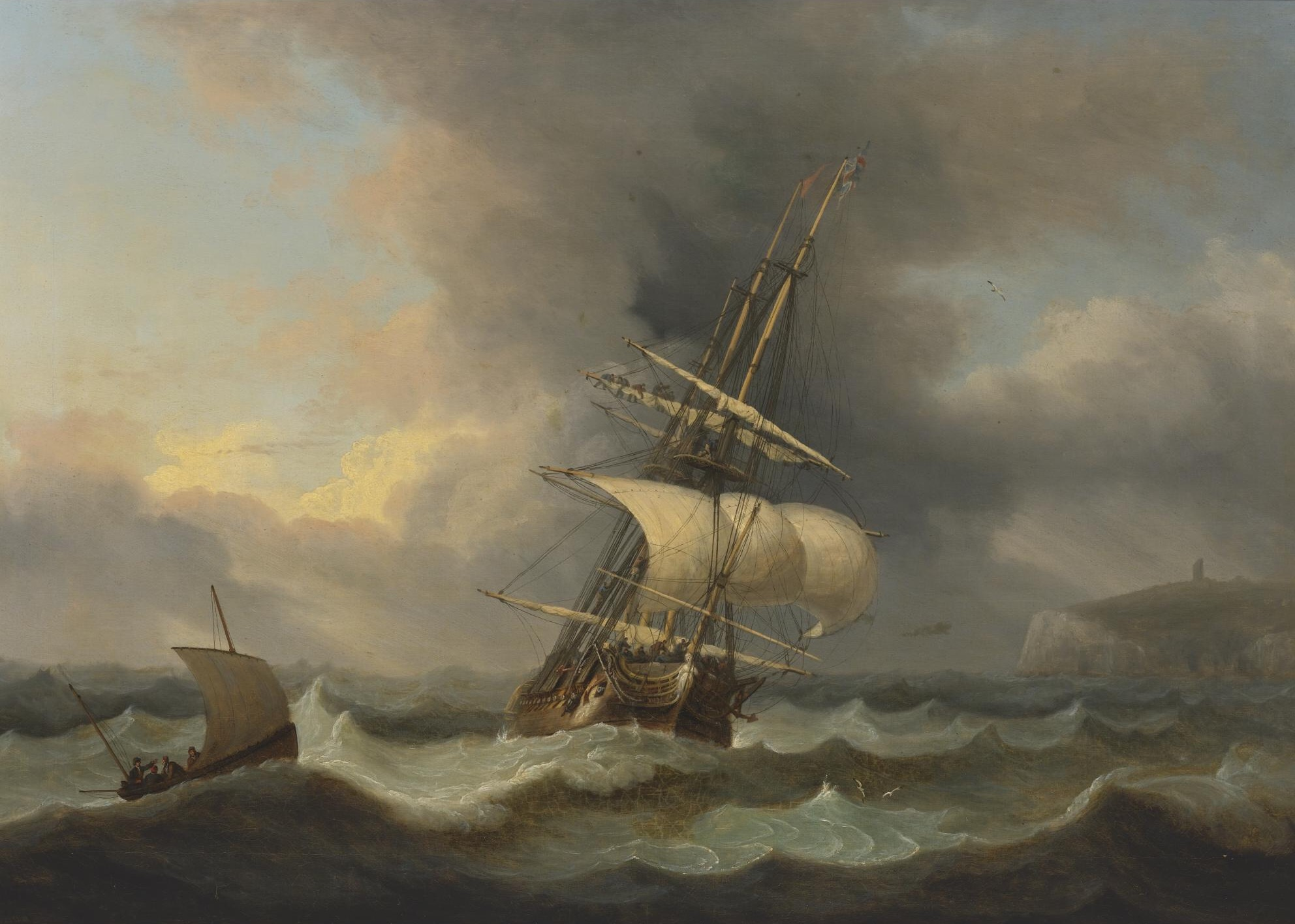Shortening Sail Off South Foreland, by Thomas Luny, 1818
