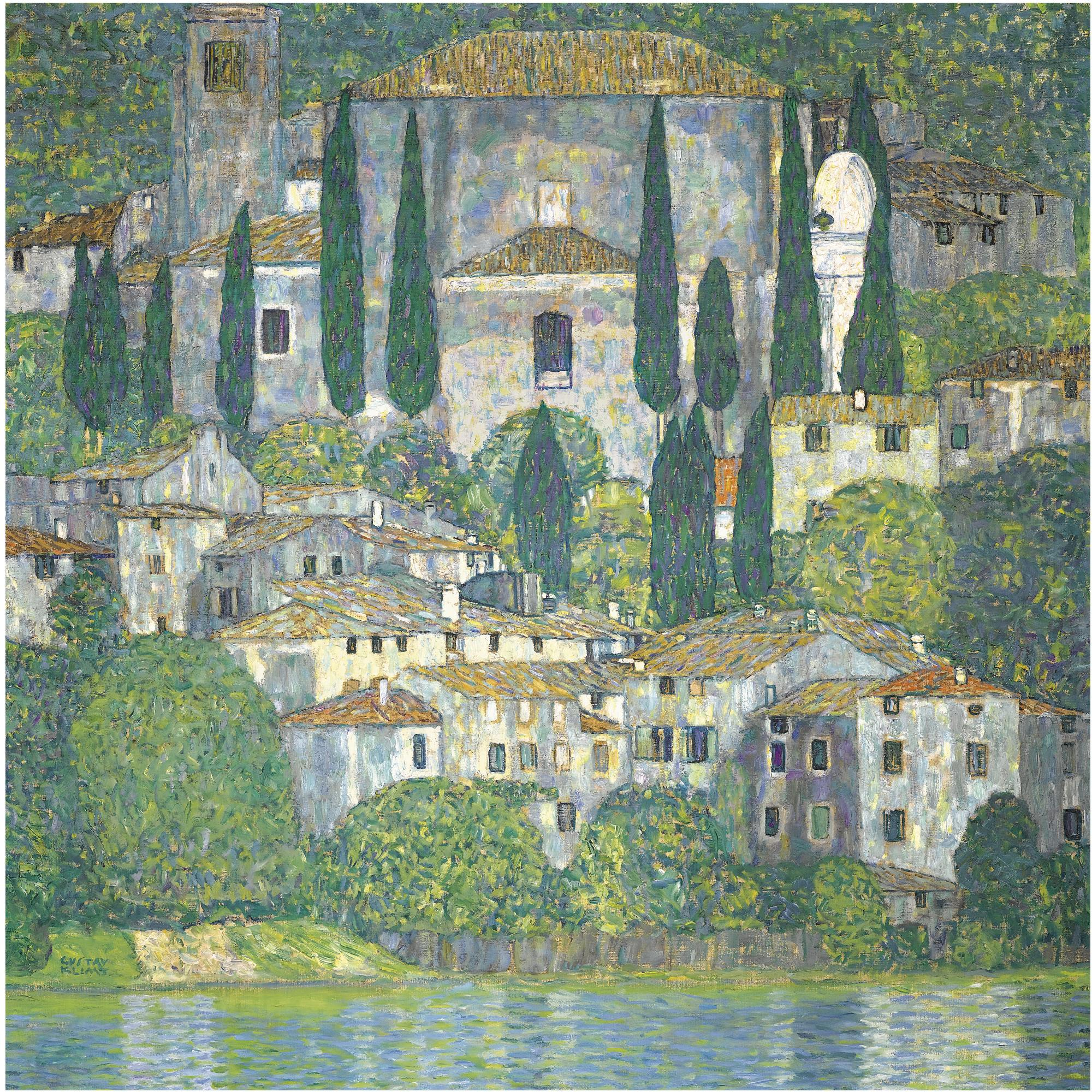 Church in Cassone, Landscape with Cypresses, by Gustav Klimt, 1913