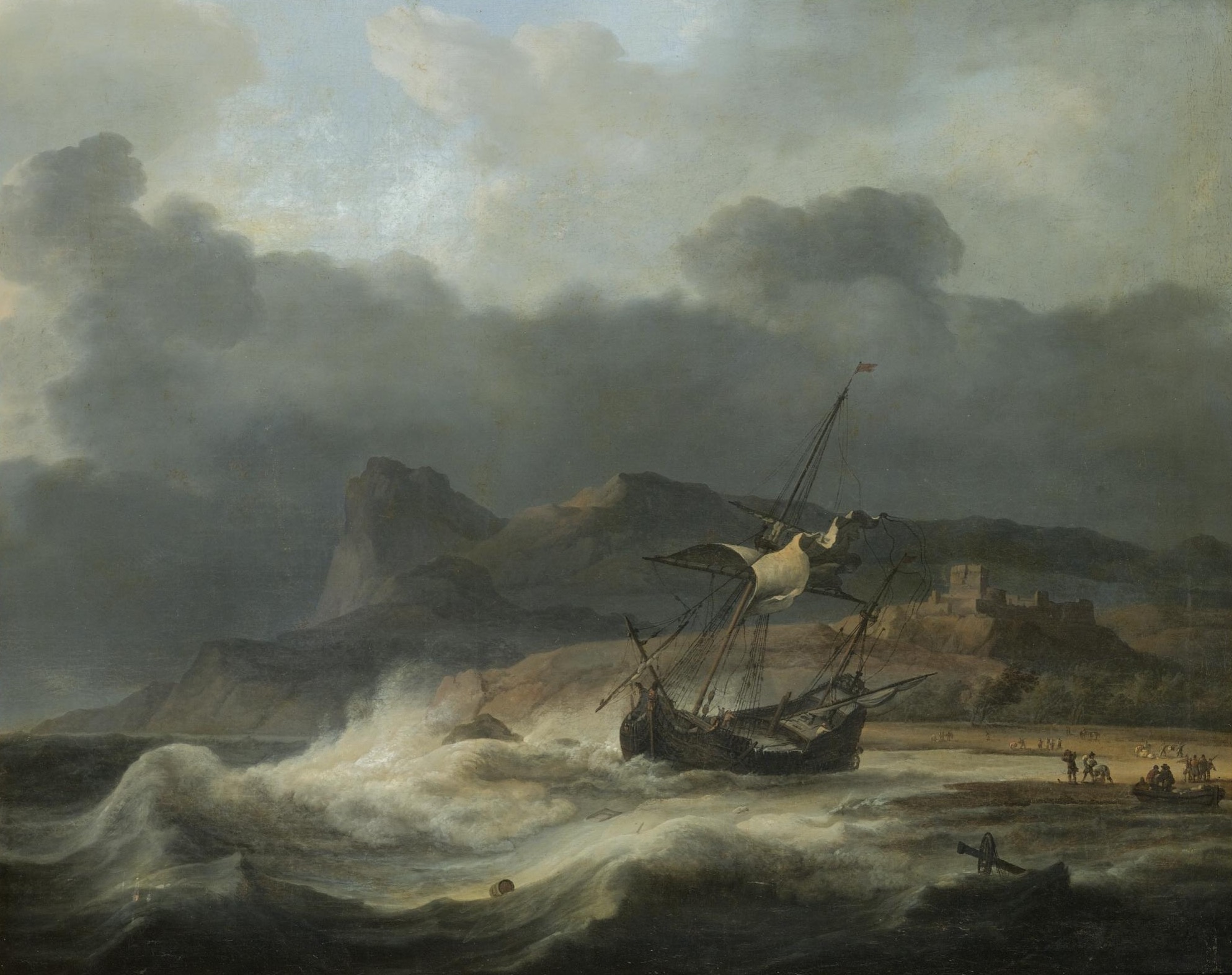A Mountainous Coastal Landscape with a Ship Beached in a Storm, by Aernout Smit
