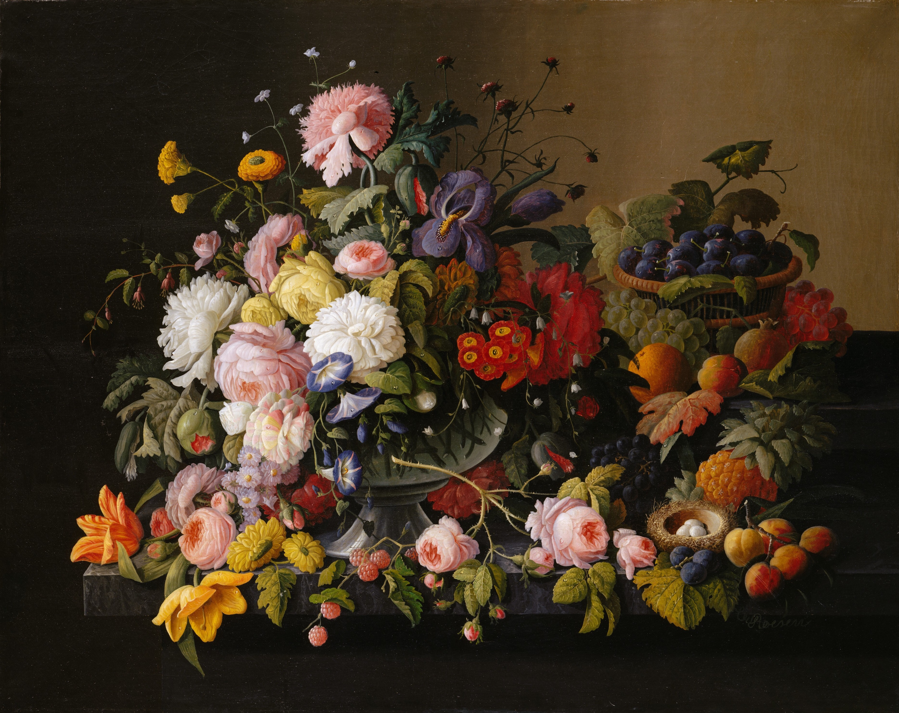 Still Life of Flowers and Fruit, by Severin Roesen, circa 1850, by The Met