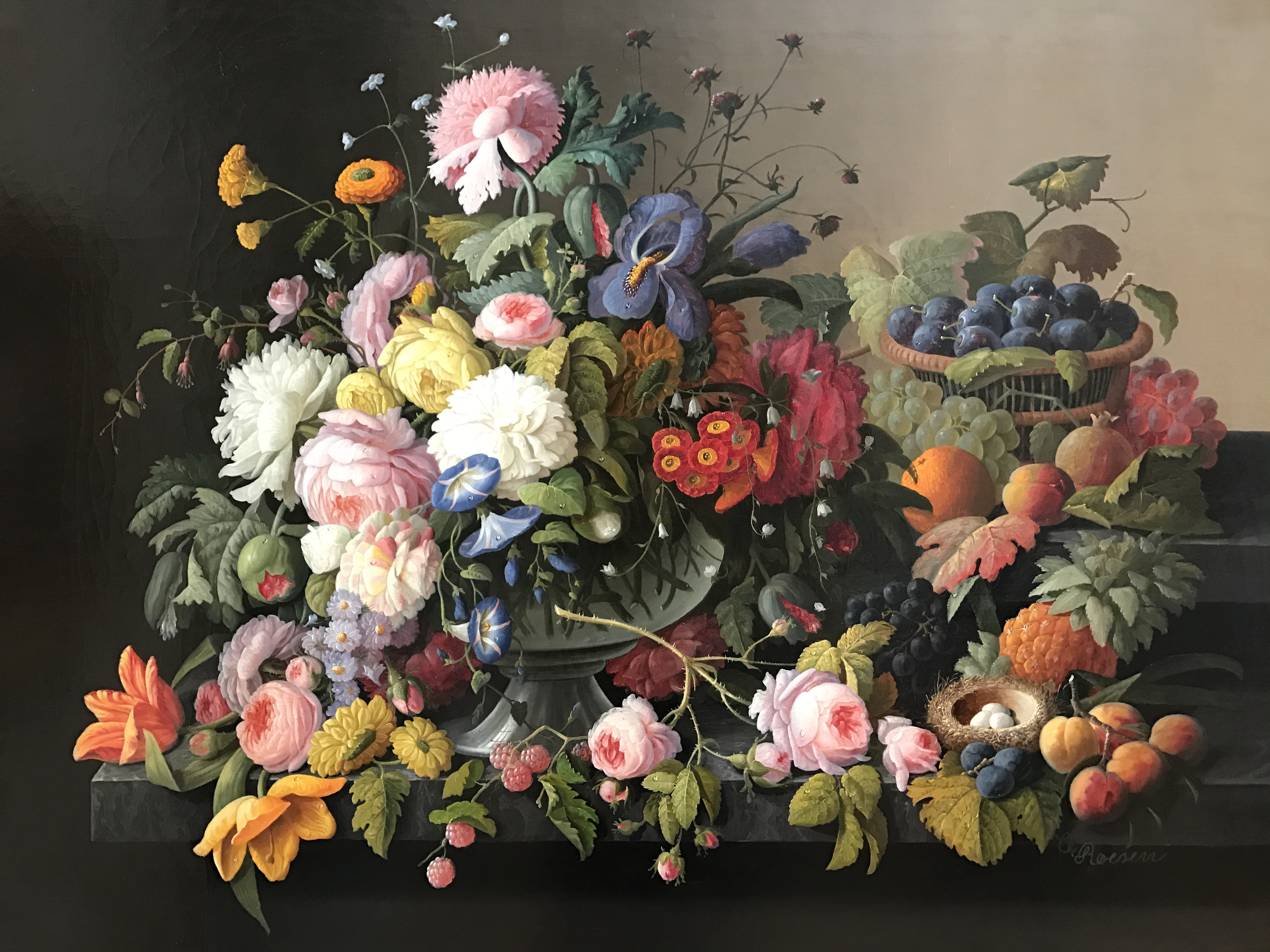 Still Life of Flowers and Fruit, by Severin Roesen, circa 1850, my photo