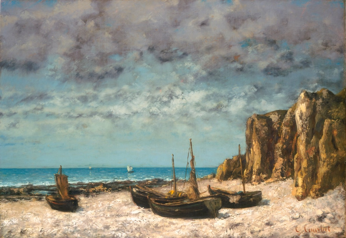 Boats on a Beach, Étretat, by Gustave Courbet, circa 1872