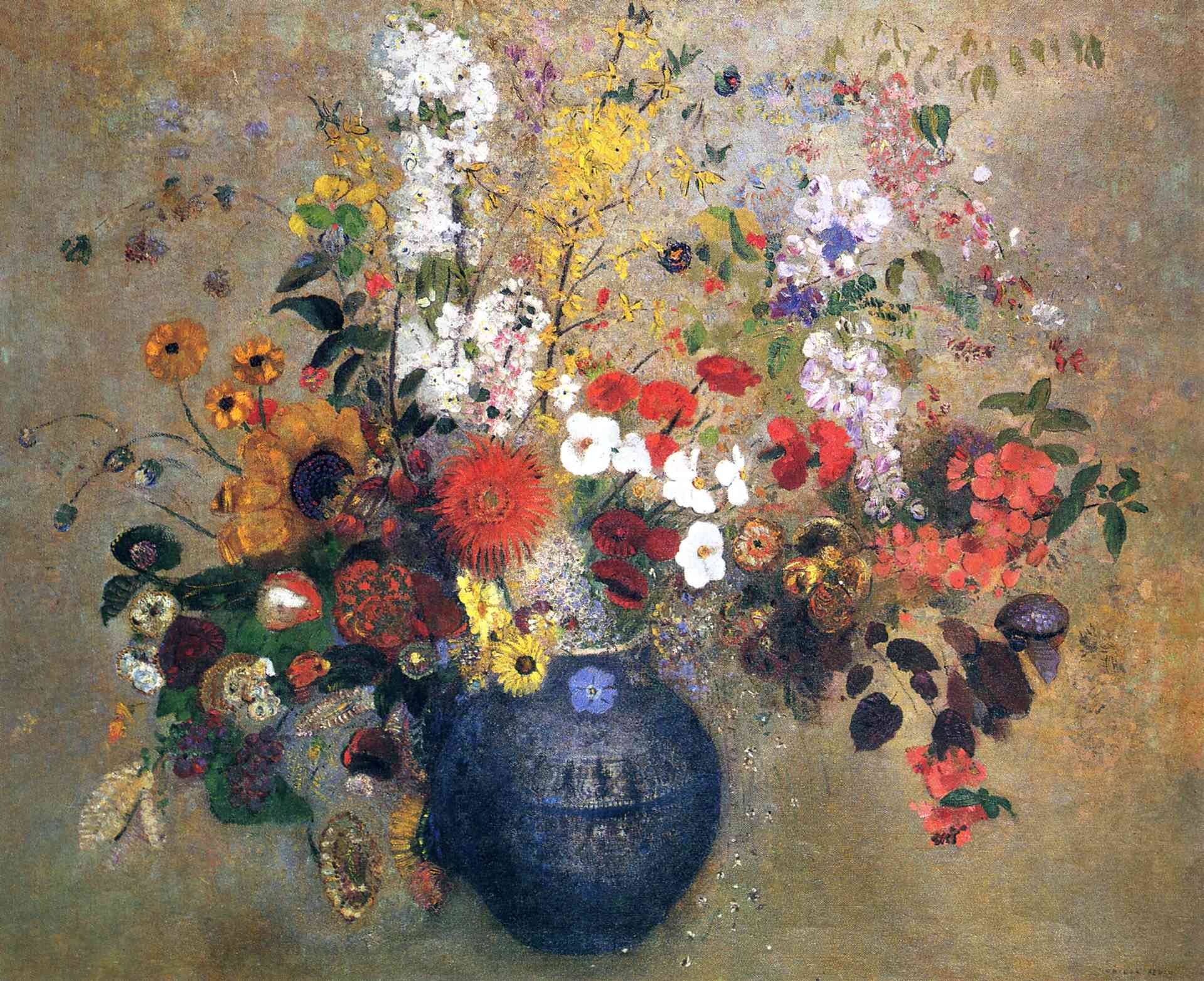 Flowers in a Beaded Blue Vase by Odilon Redon, 1909, lighter version