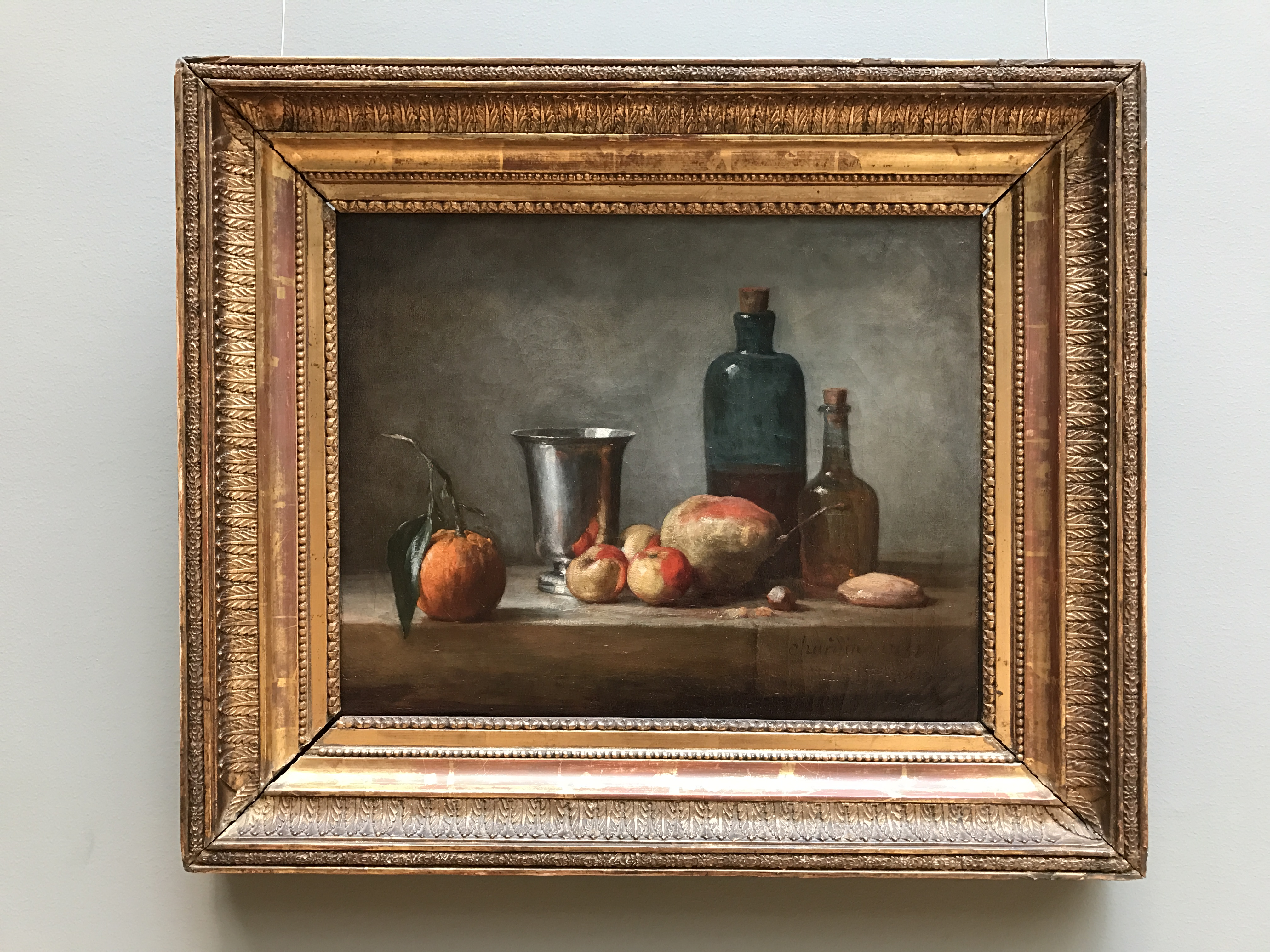 Seville Orange, Silver Goblet, Lady Apples, Pear, and Two Bottles, by Jean Siméon Chardin, framed, my photo