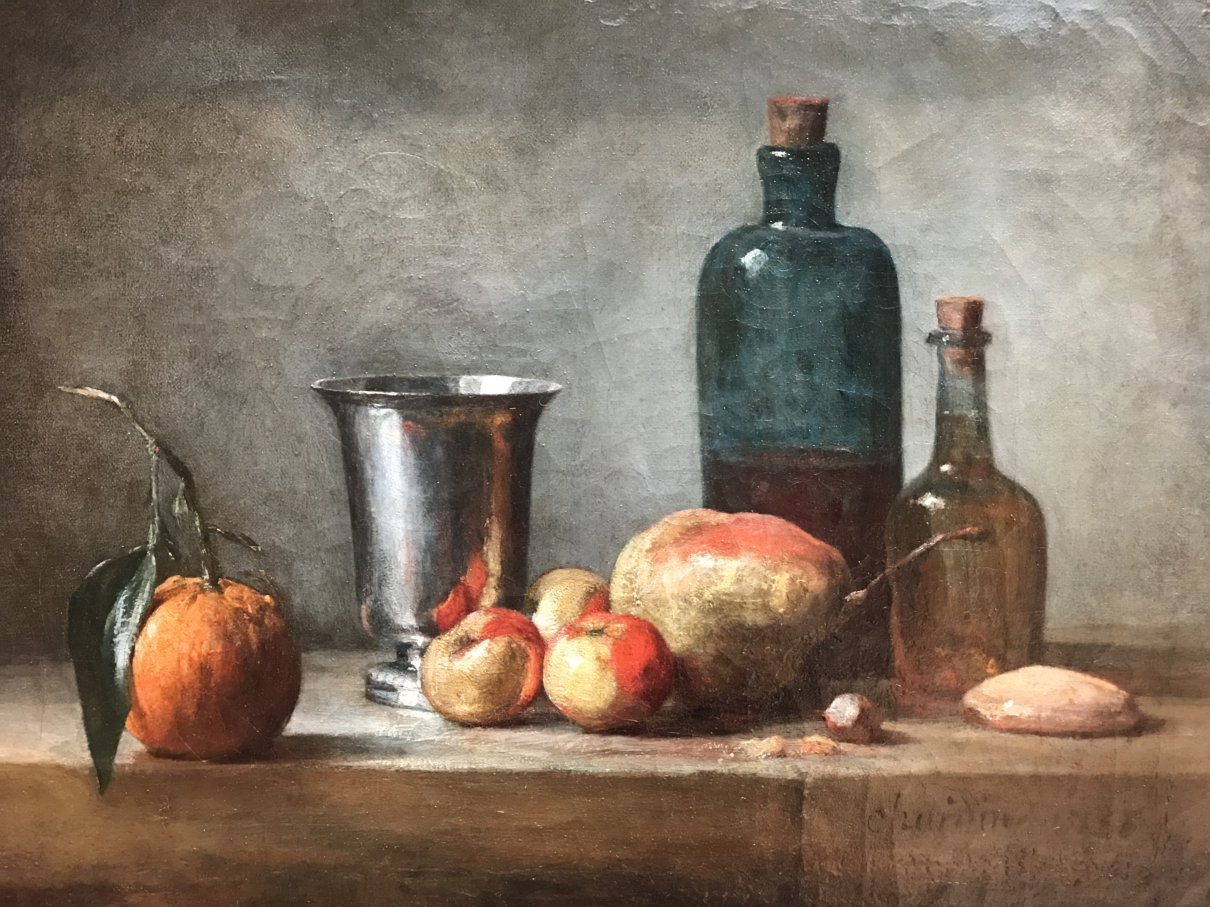 Seville Orange, Silver Goblet, Lady Apples, Pear, and Two Bottles, by Jean Siméon Chardin, my photo