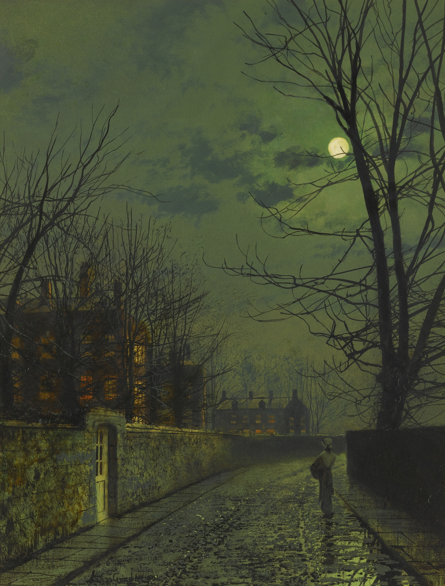 A Moonlit Street after Rain, by John Atkinson Grimshaw, 1881