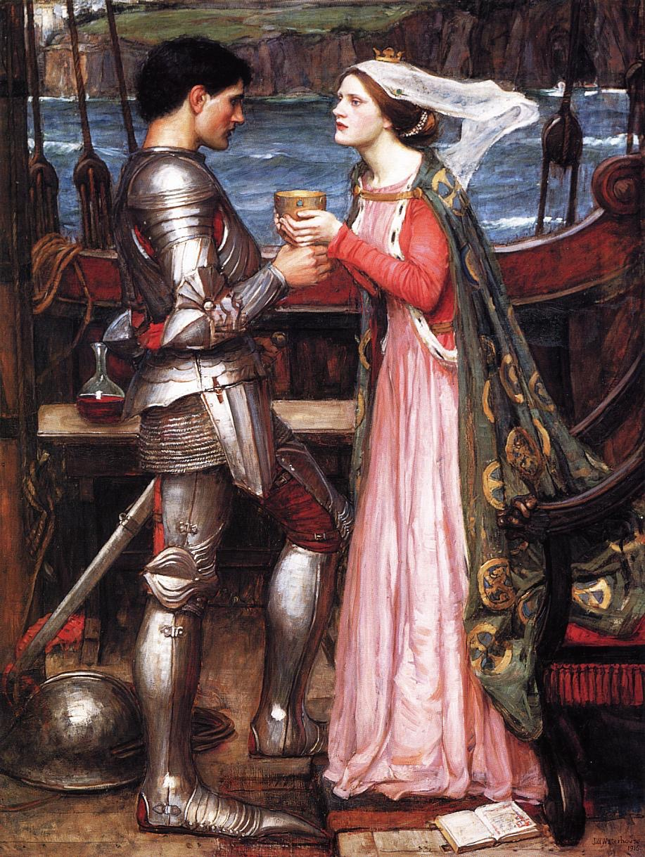 Tristran and Isolde, by John William Waterhouse, 1916, version 1