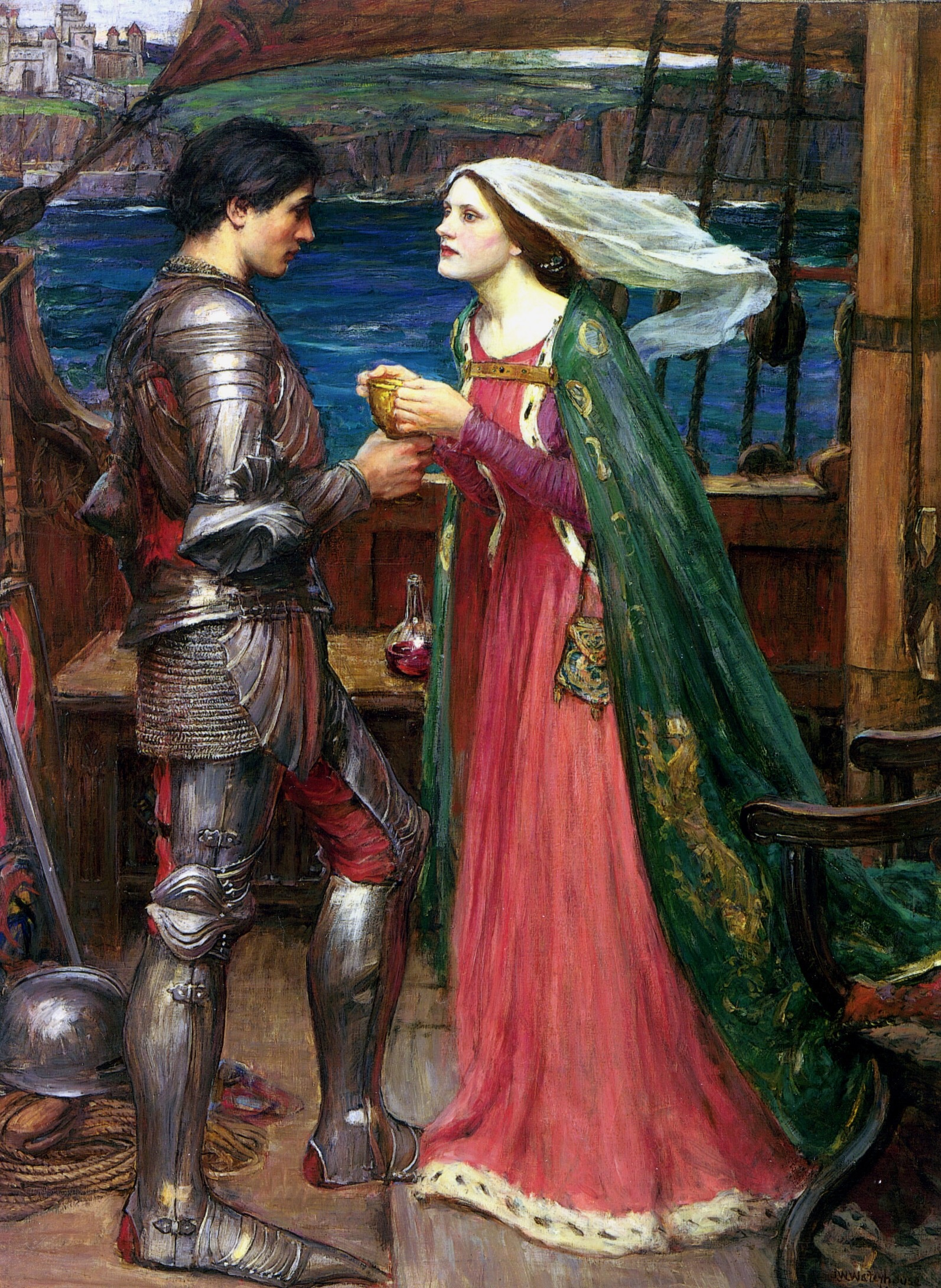 Tristran and Isolde, by John William Waterhouse, 1916, version 2