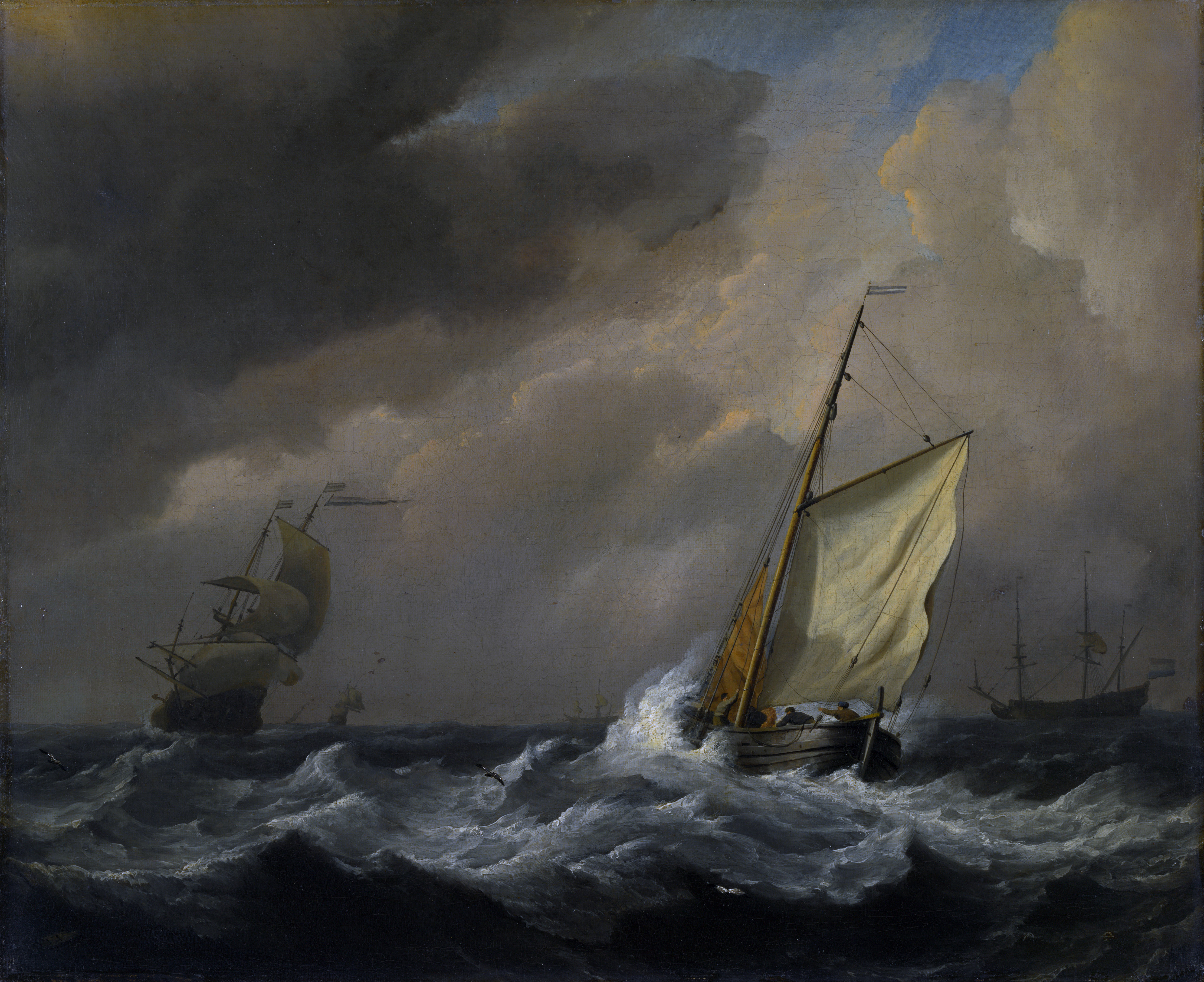 A Small Dutch Vessel Close-Hauled in a Strong Breeze, by Willem van de Velde, the Younger, circa 1672, 5183px