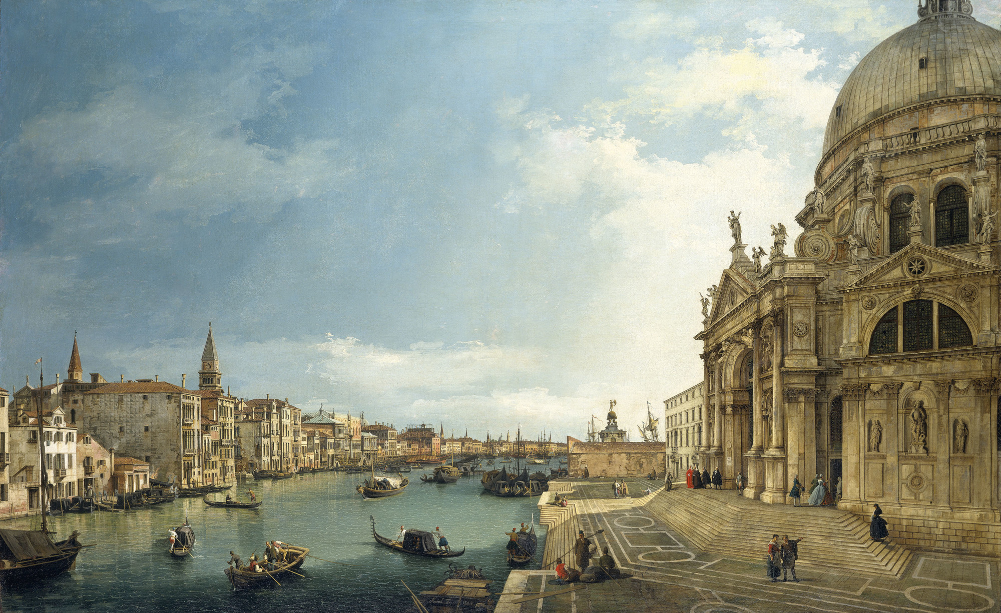 The Grand Canal with Santa Maria della Salute looking East towards the Bacino, Signed and dated 1744