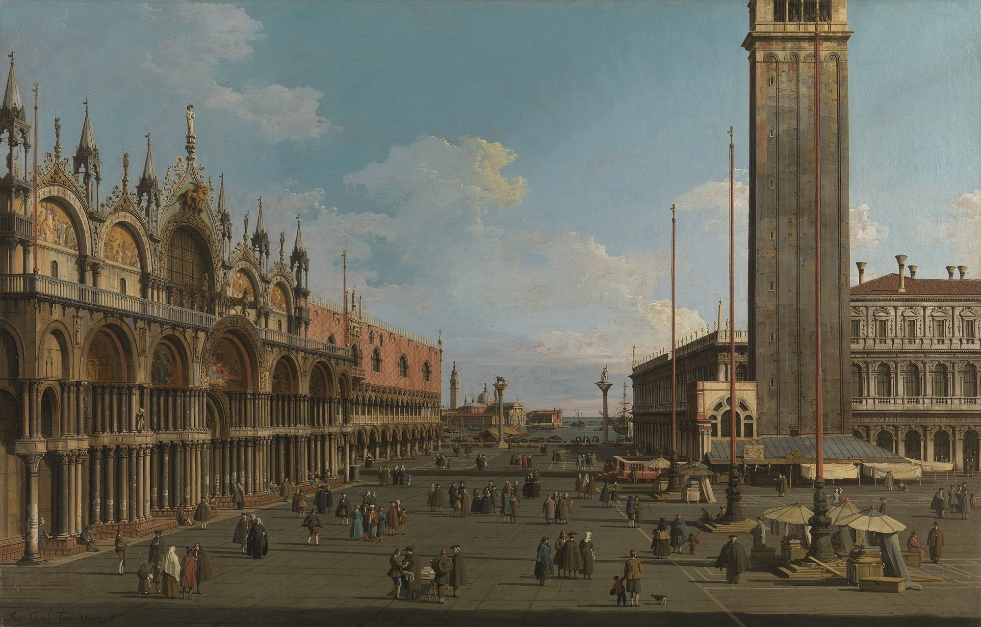 The Piazza and Piazzetta from the Torre dell'Orologio towards San Giorgio, 1744