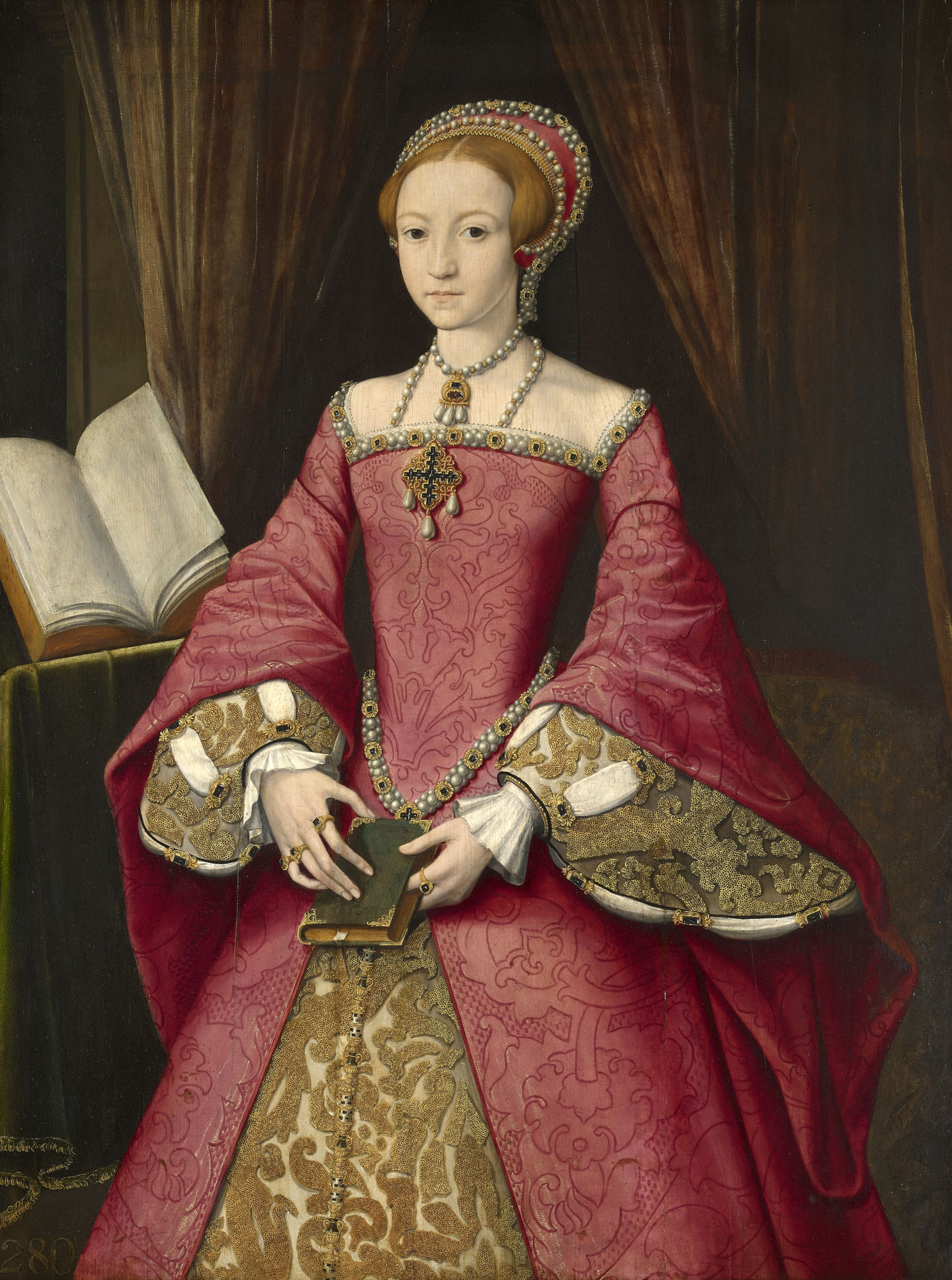 Elizabeth I when a Princess, Attributed to William Scrots, circa 1546