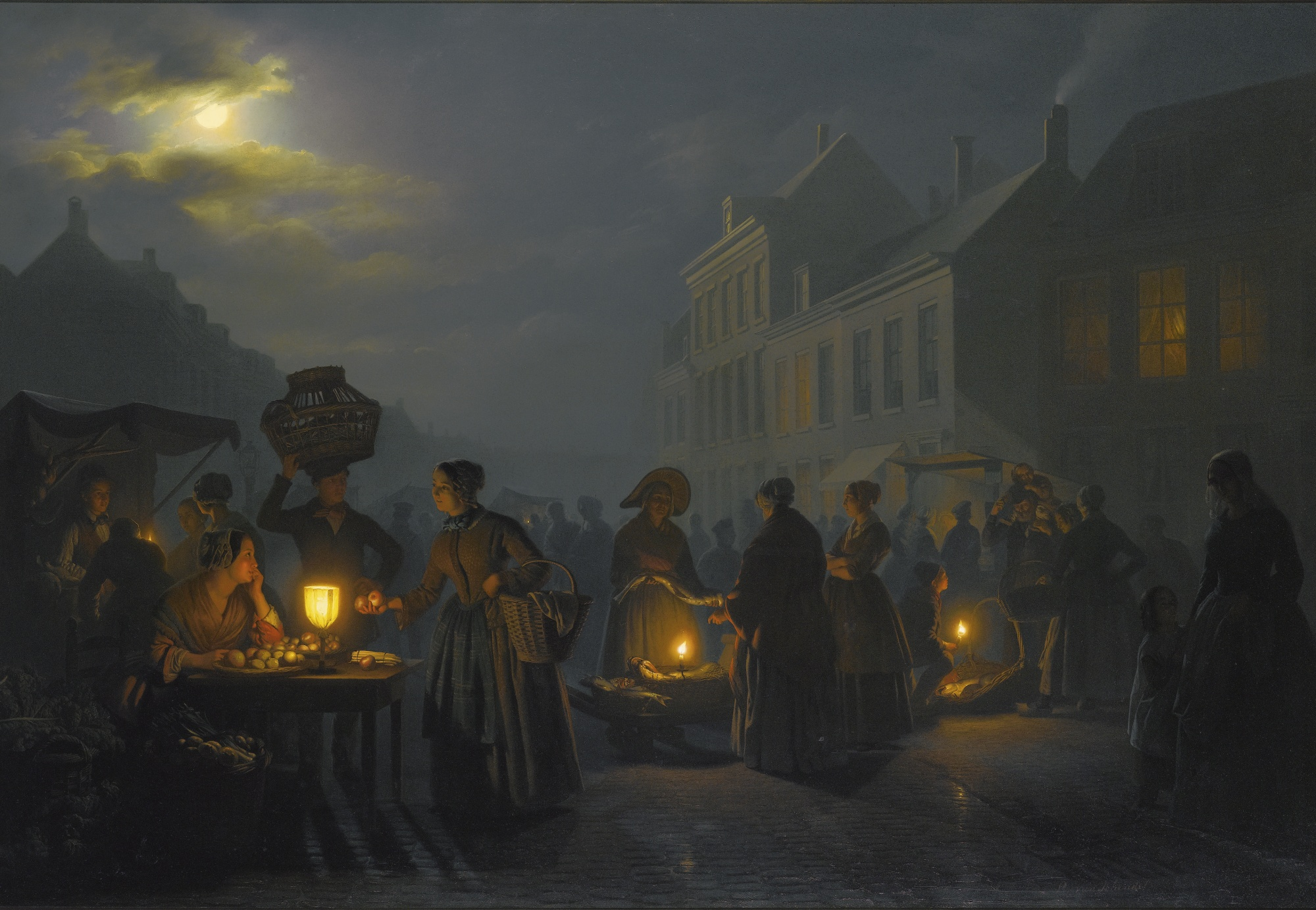 A Market at Dusk, by Petrus van Schendel