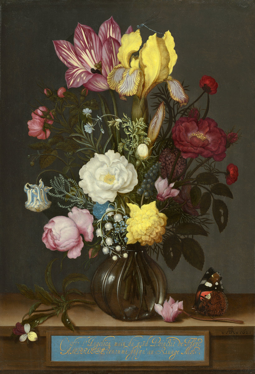 Bouquet of Flowers in a Glass Vase, by Ambrosius Bosschaert, 1621