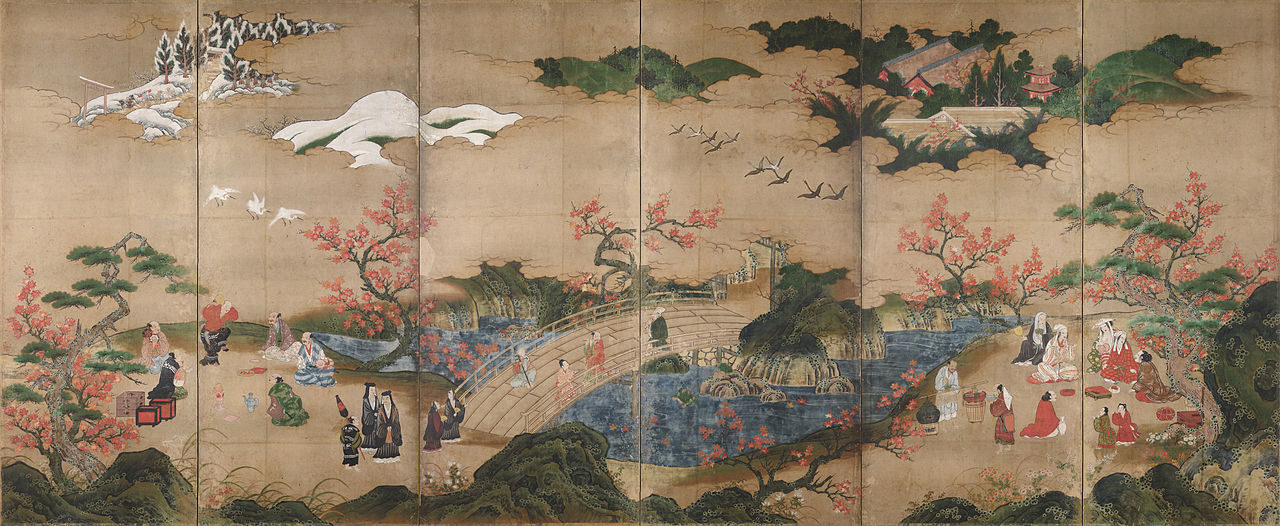 Maple Viewing at Takao, by Kano Hideyori, mid-16th century