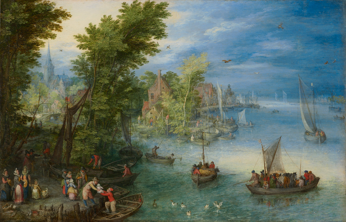 River Landscape, by Jan Brueghel the Elder, 1607