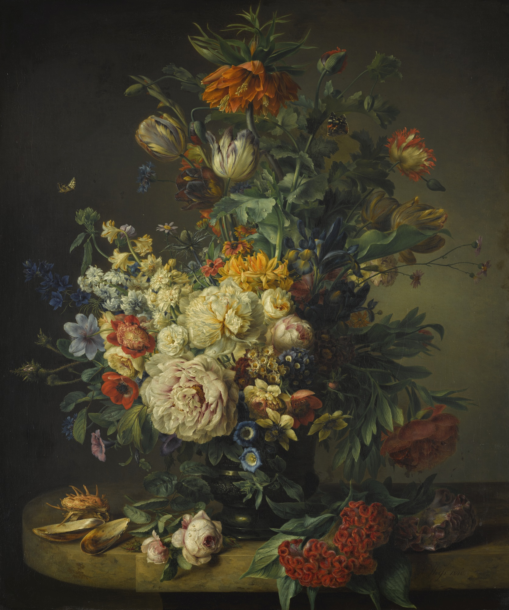 Still Life with Roses, Tulips, and Imperial Fritillary, by Anton Weiss, 1840