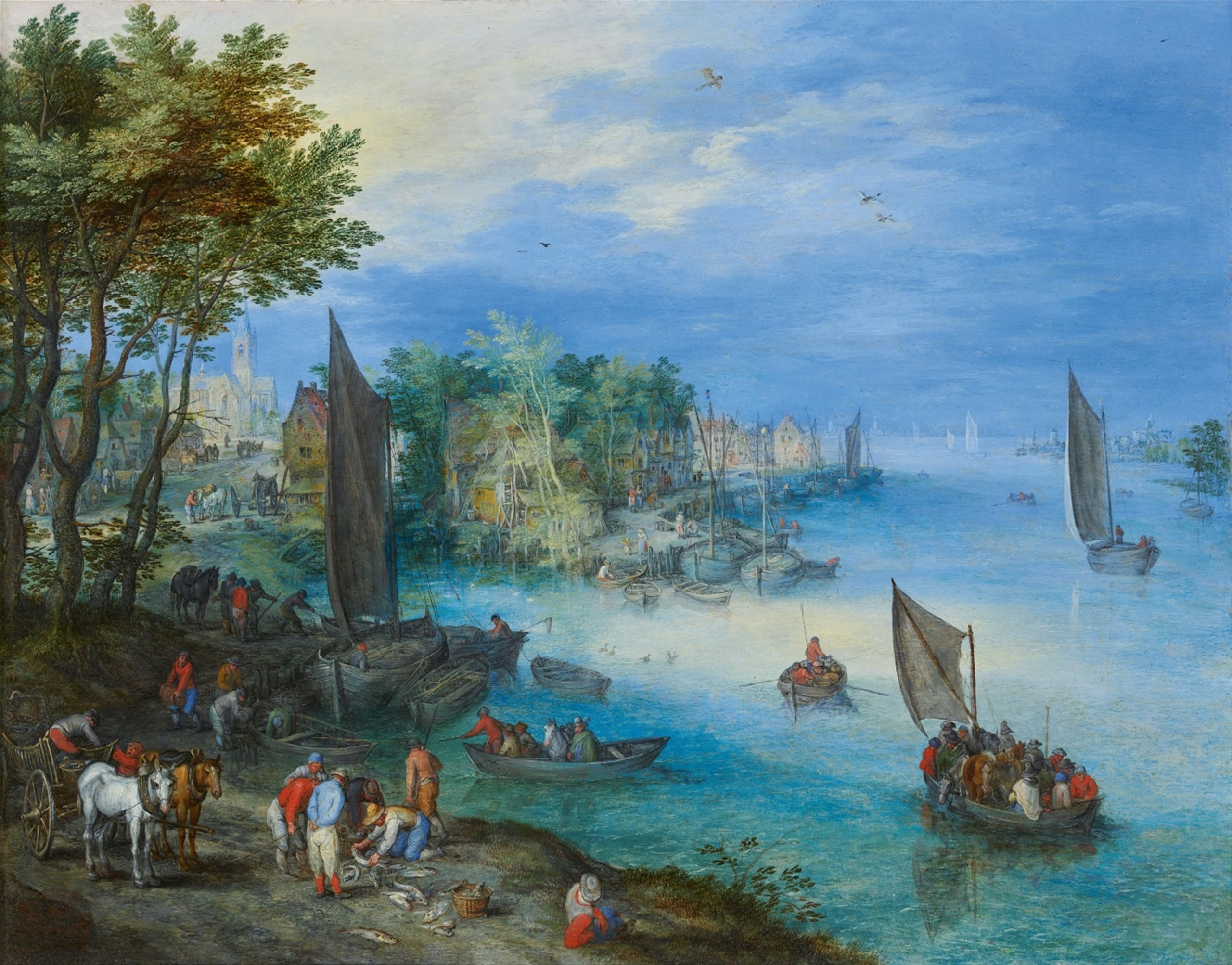 River Landscape with Fishers and a Cart, by Jan Brueghel the Elder - 2560px