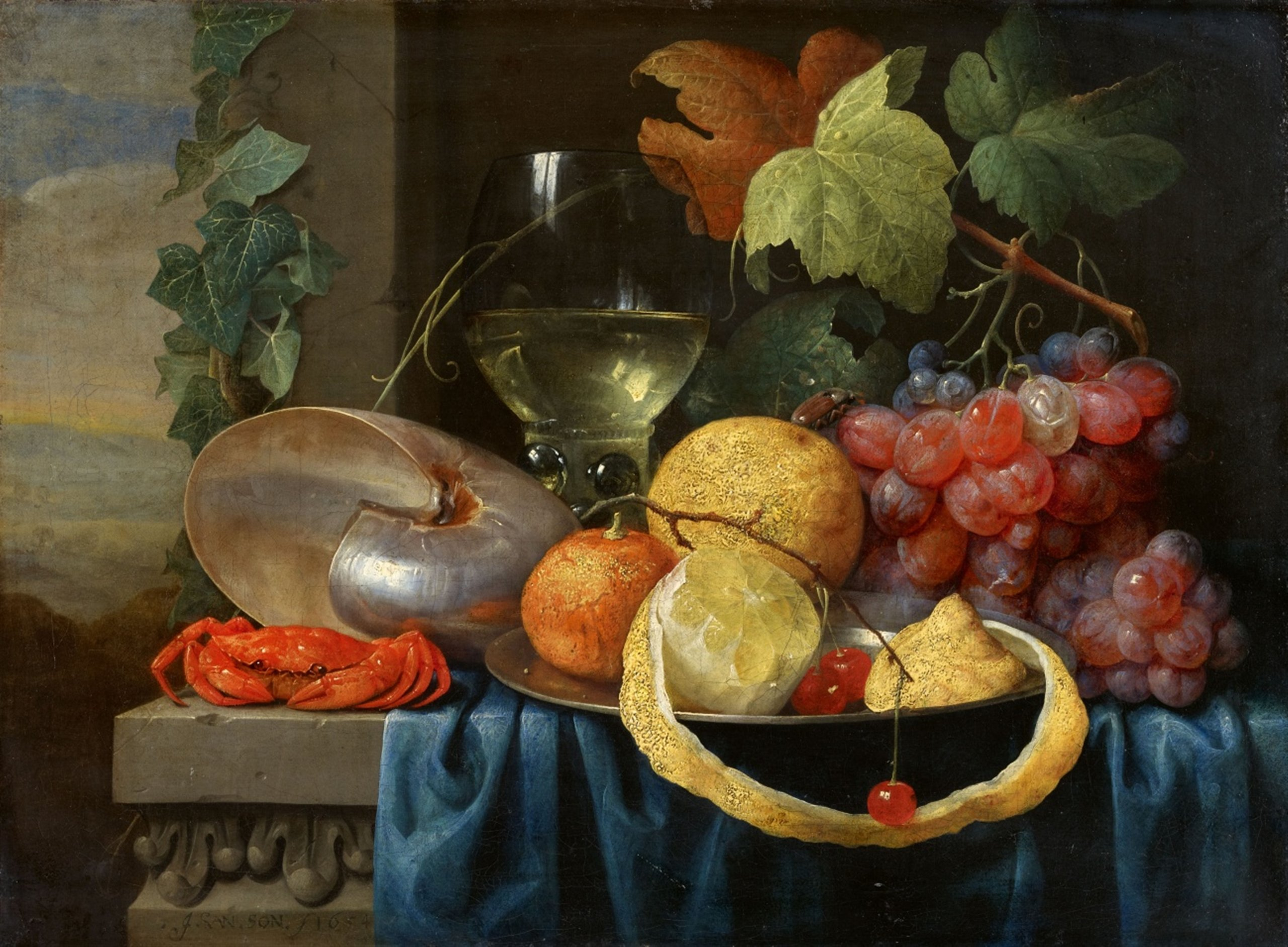 Fruit Still Life with a Nautilus Chalice, by Joris van Son, 1654 - 2560px