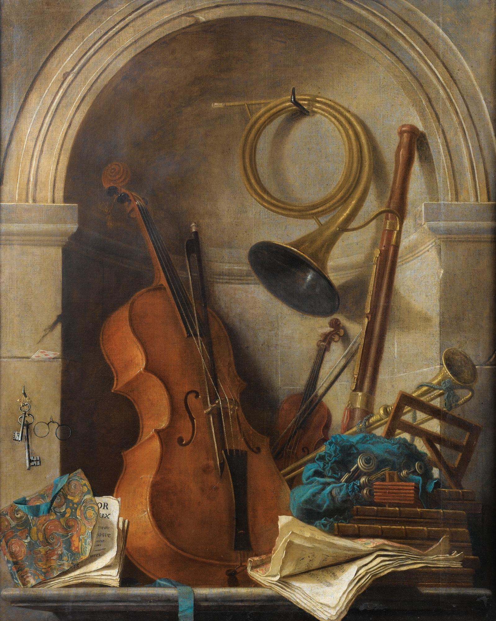 Nature Morte en Trompe L'Oeil aux Instruments de Musique et au Livret de Castor et Pollux de Rameau, by Nicolas-Henry Jeaurat de Bertry - 1598px