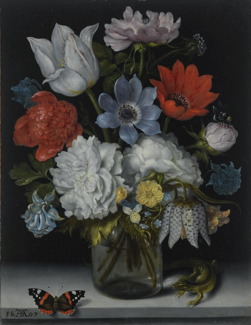 A Still Life of Flowers in a Glass Flask on a Marble Ledge, Flanked by a Red Admiral Butterfly and a Lizard, by Ambrosius Bosschaert the Elder, 1607