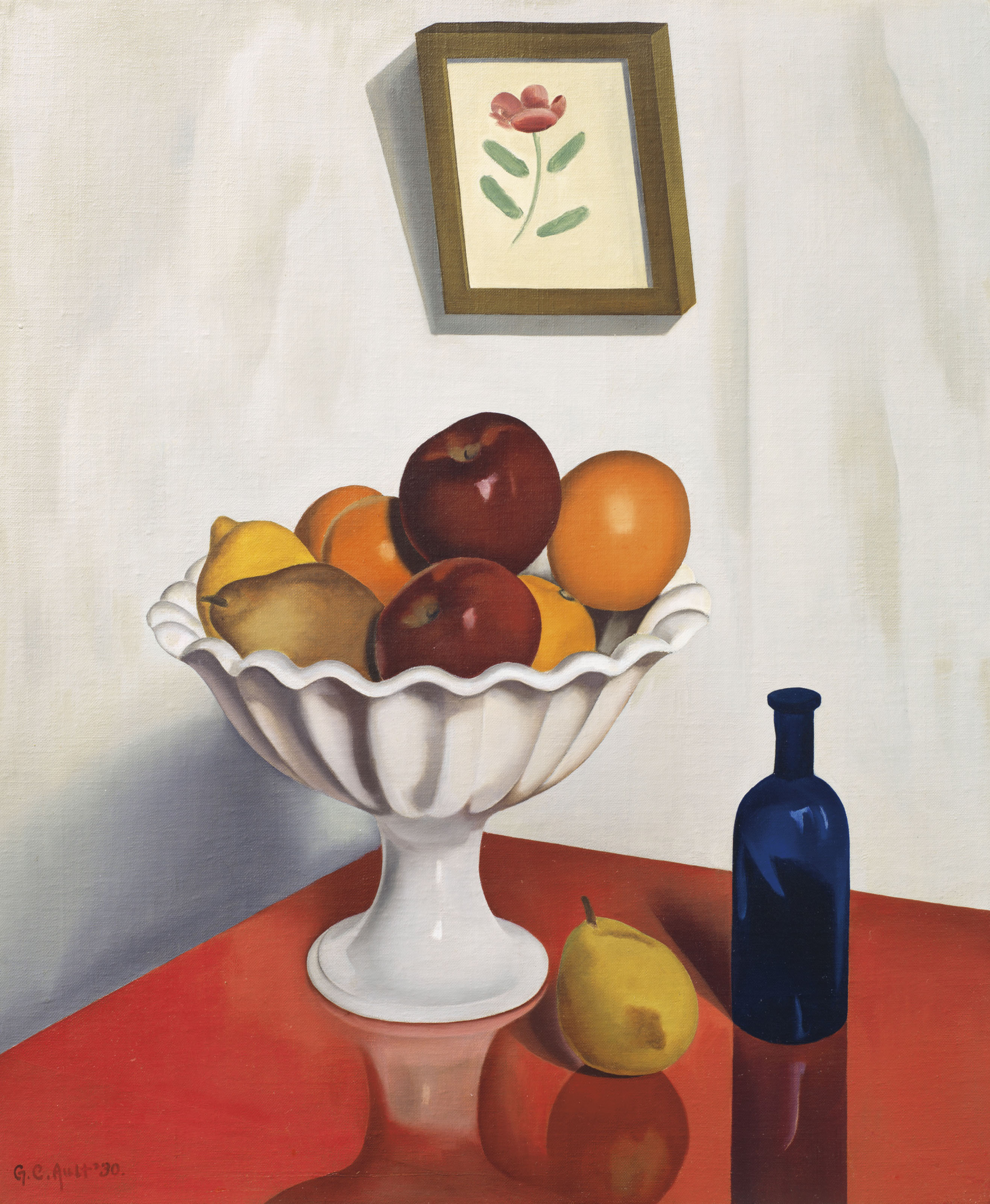 Fruit Bowl on Red Oilcloth, by George Copeland Ault, 1930