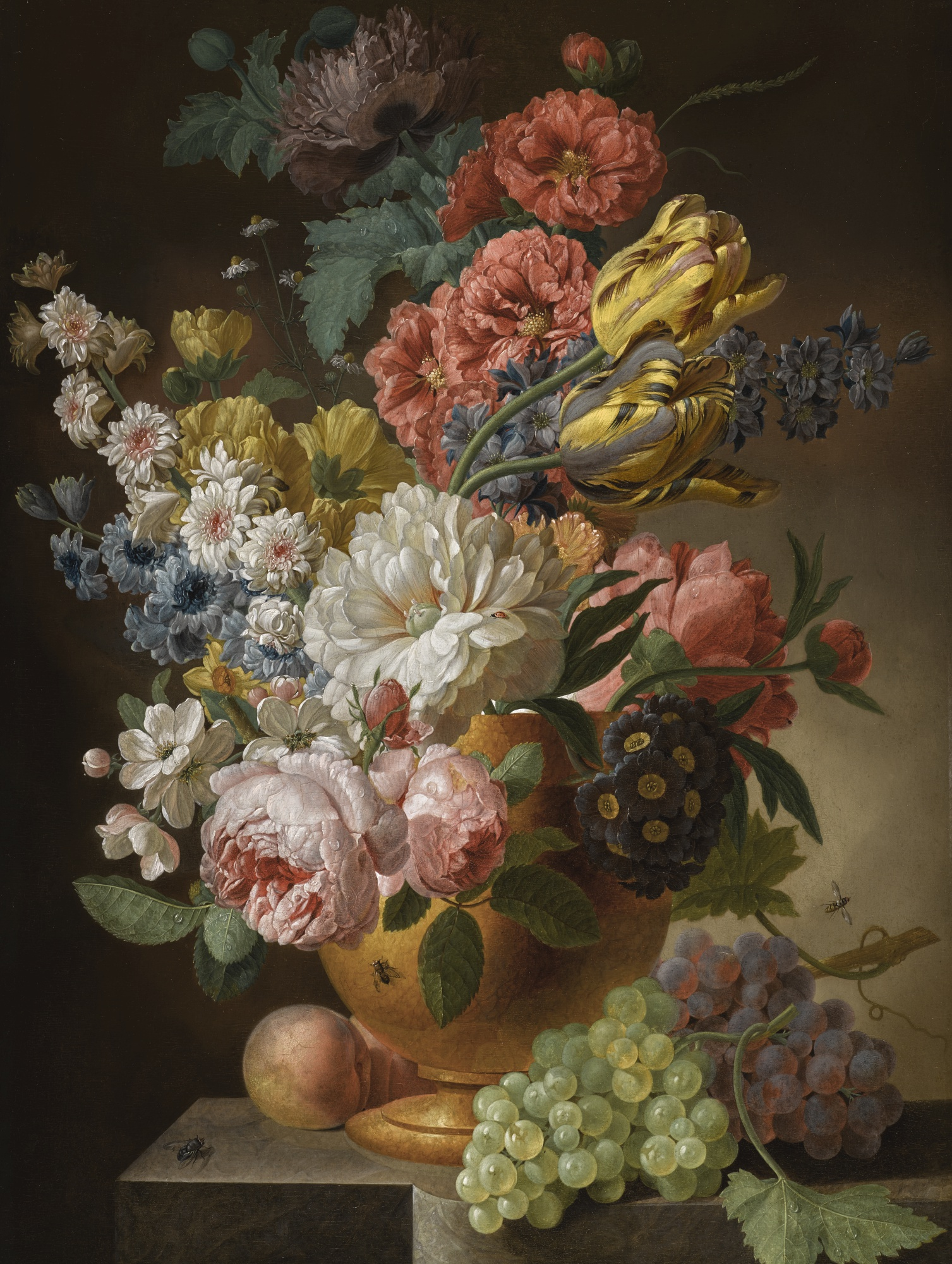 Still Life of Roses, Tulips, Carnations, and other Flowers, in an Urn on a Stone Ledge, with Peaches and Grapes, by Pieter Faes